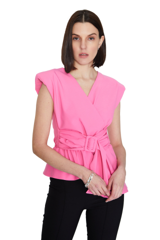Pink 046 crepe sleeveless mini blouse