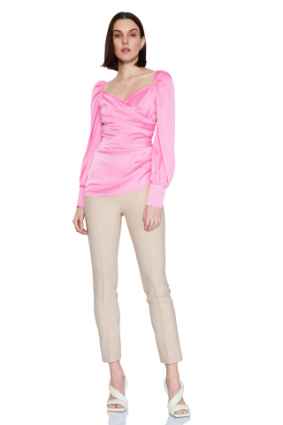 Pink 046 satin long sleeve mini blouse