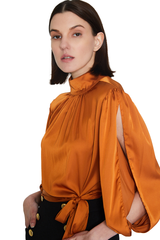 Ginger satin long sleeve mini blouse