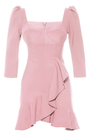 Powder crepe 3/4 sleeve mini dress