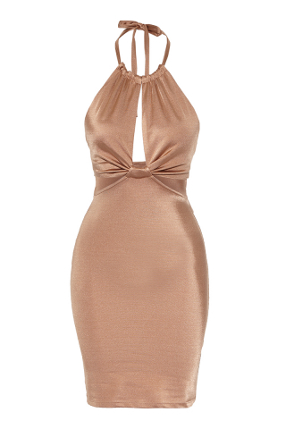 Gold satin sleeveless mini dress