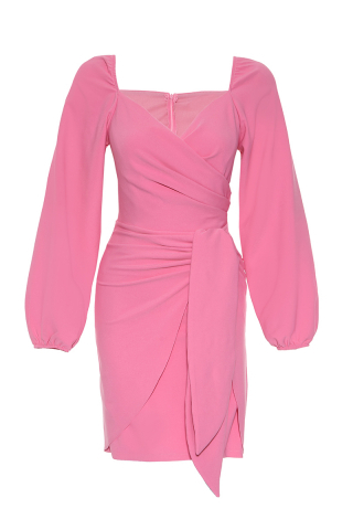 Pink crepe long sleeve mini dress