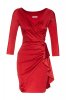 Red satin 3/4 sleeve mini dress
