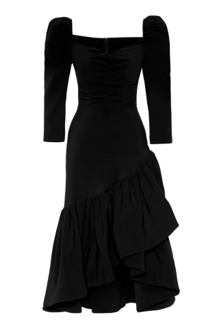 Black crepe 3/4 sleeve maxi dress