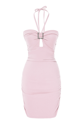 Powder crepe sleeveless mini dress
