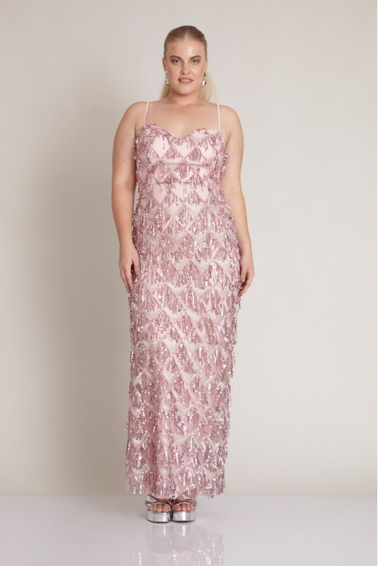 Powder plus size sequined sleeveless maxi dress