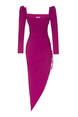 Fuchsia crepe long sleeve maxi dress