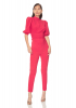 Red crepe 3/4 sleeve maxi trousers