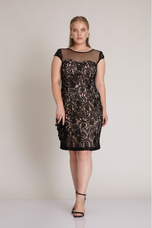 Powder plus size lace short sleeve mini dress