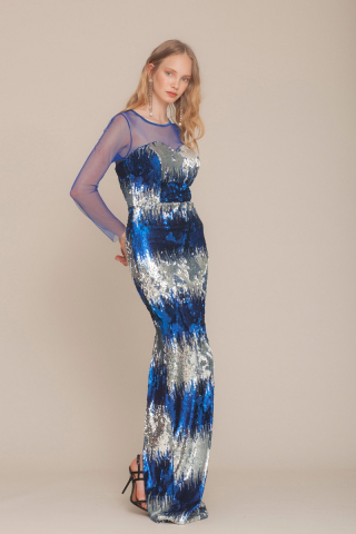 Sax sequined long sleeve maxi dress