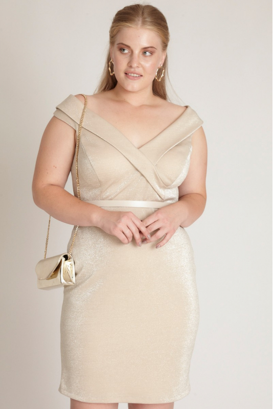Gold plus size sleeveless mini dress
