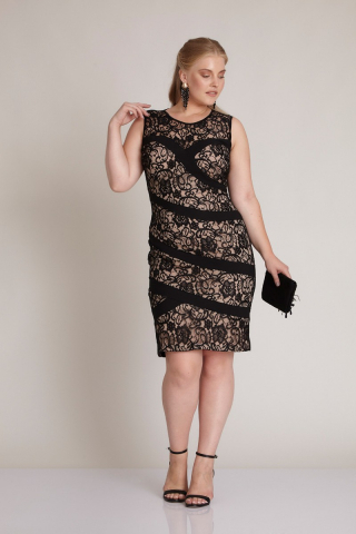 Powder plus size crepe sleeveless mini dress