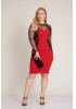 Red plus size crepe long sleeve mini dress