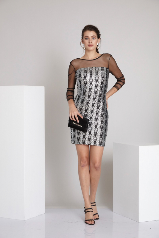 Silver woven midi long sleeve dress