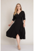 Black plus size 3/4 sleeve midi dress
