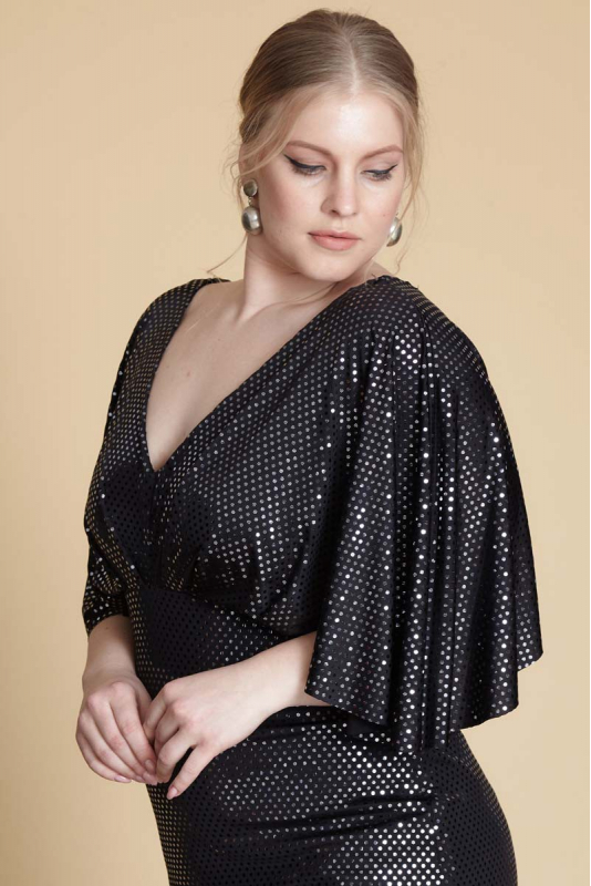 Black plus size sequined short sleeve maxi dress