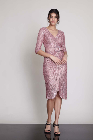 New powder pink sequined sleeveless midi dress
