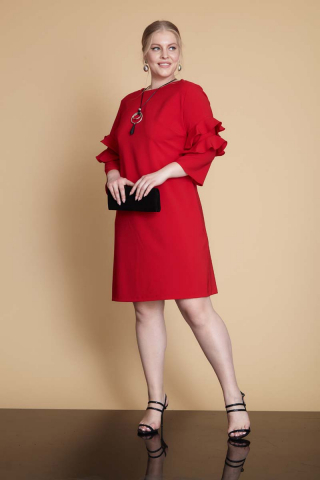 Red plus size long sleeve midi dress