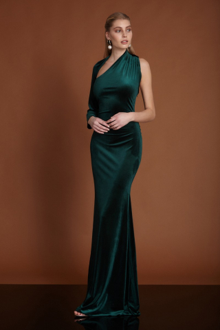 Dark green velvet single sleeve maxi dress