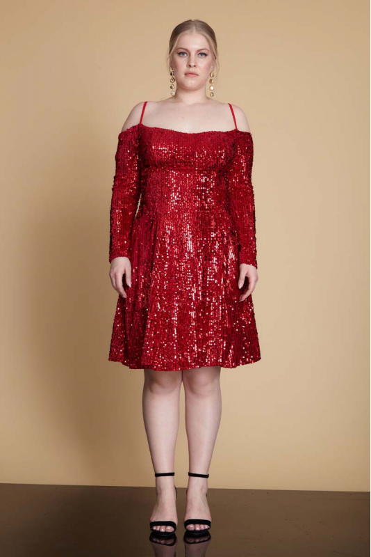 Red plus size velvet long sleeve mini dress