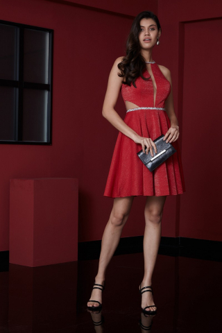 Red velvet 13 sleeveless midi dress