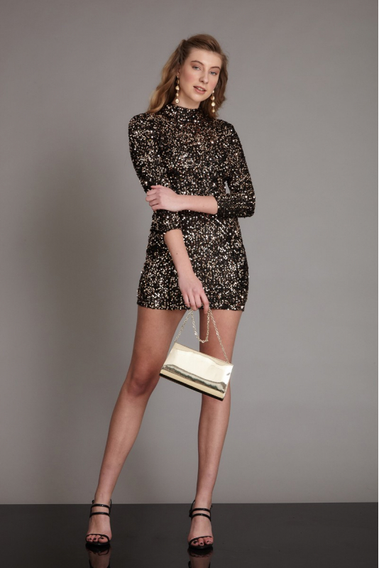 Gold sequined sequined long sleeve mini dress