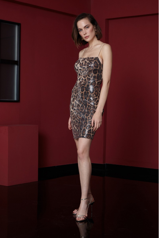 Leopard sequined sleeveless mini dress