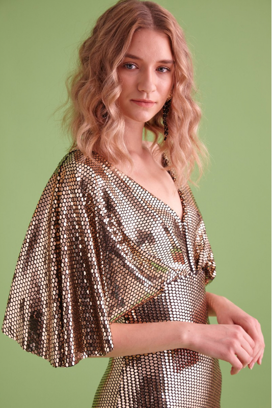 Mirrored gold sequined short sleeve mini dress