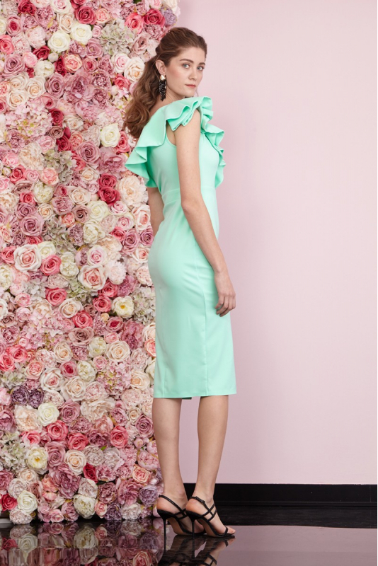 Water green crepe single sleeve midi dress