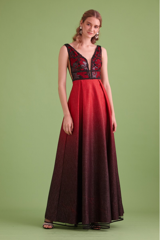 Red-black knitted sleeveless maxi dress