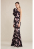 Printy23 crepe single sleeve maxi dress