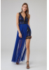 Sax tulle sleeveless maxi dress